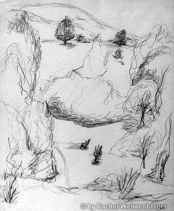 Landscape around Siegen, Pencil sketch on paper,